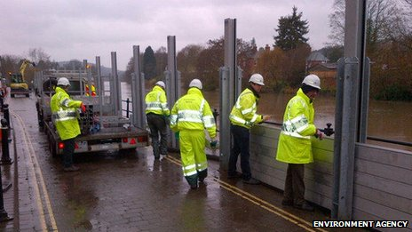 Flood barriers in Bewdley