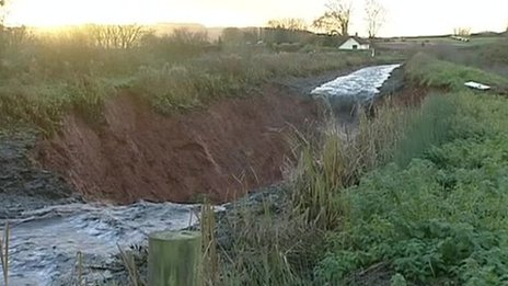 The Grand Western Canal breached its banks near Tiverton