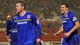 Cardiff City's Aron Gunnarsson celebrates his goal against Barnsley