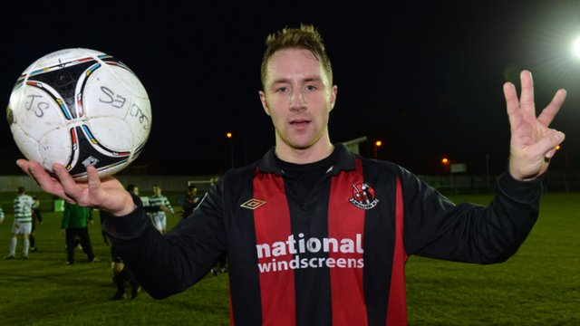 Timmy Adamson celebrates his hat-trick against Donegal Celtic