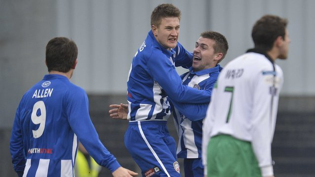 Coleraine's Shane Jennings celebrates his goal against Glentoran