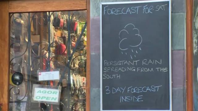 Sign warning of rain