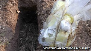 Picture released by the Venezuelan Interior Ministry of a bag of cash found in Apure