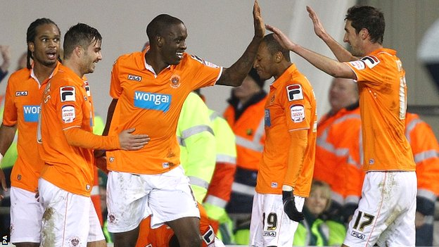 Blackpool celebrate their equaliser against Watford
