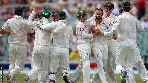 Nathan Lyon celebrates a wicket