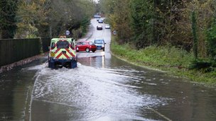 Road flooded in Whitminster, Gloucestershire. Picture: John Wilkes