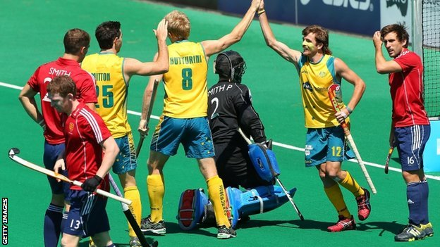 Australia celebrate scoring against England