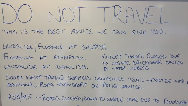 Message to travellers at Plymouth Railway Station