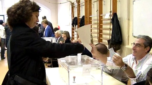 Voter in Barcelona, Spain