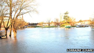 Flooding in Stratford-upon-Avon, in Warwickshire