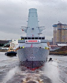 HMS Dauntless, the Royal Navy's Type 45 Air Defence destroyer, being launched