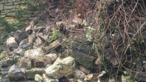 Scene of landslide in Old Sodbury