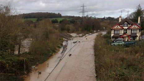 Railway line underwater near Exeter