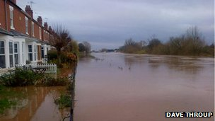 Flooding in Diglis, in Worcester