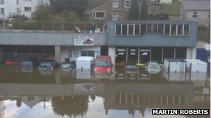 A flooded garage