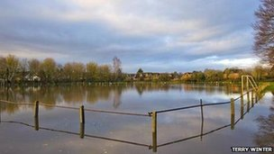 A flooded football pitch