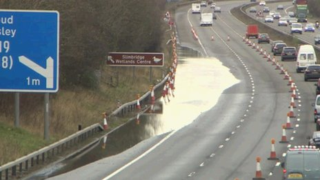 M5 flooded near Stroud