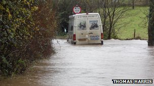 Flooded road in Somerset. Picture: Thomas Harris