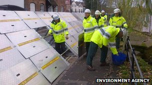 Temporary flood barriers in Bewdley
