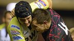 James King and Edinburgh's Perry Parker get to grips with each other
