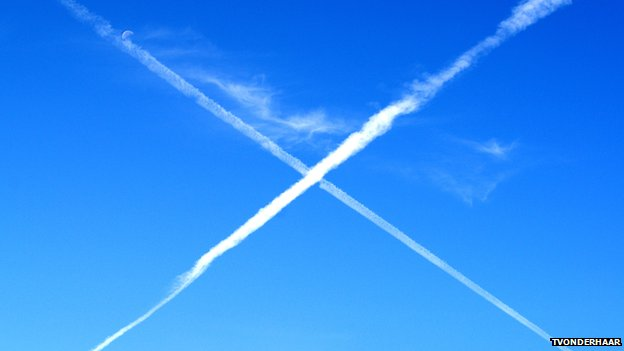 Vapour trail Saltire in the sky