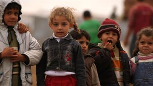 Children in the Atma camp in northern Syria