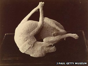1874 photo of a plaster cast of a dog killed in the eruption - image courtesy of J Paul Getty Museum