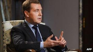Russian Prime Minister Dmitry Medvedev at his Gorki residence outside Moscow (22 Nov 2012)