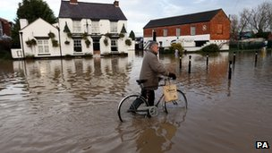 The scene in Tewkesbury on Monday