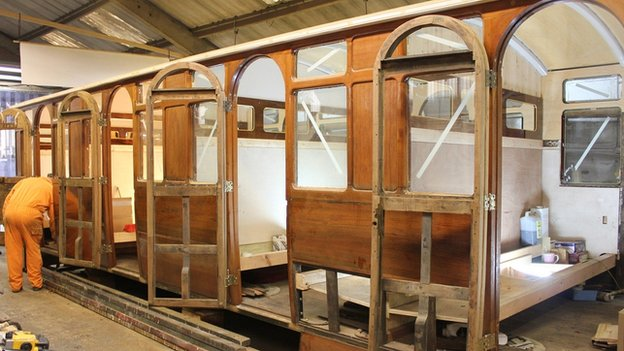 Work in progress on the interior of the carriage