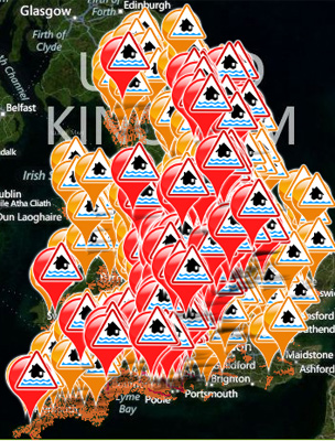 Environment Agency's flood warning map on 26 November 2012