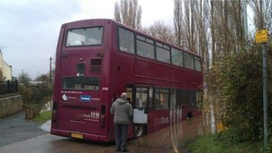 A bus trapped in flood water in Nottinghamshire