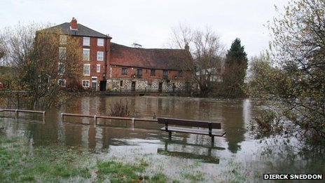 Flooding in Harnham Mill, in Salisbury