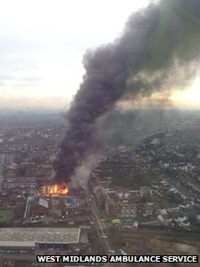 Scene of the fire from the air