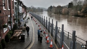 Flood defences in Bewdley