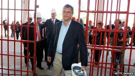 Fifa's secretary-general Jerome Valcke visits the Beira Rio stadium, in Porto Alegre, Brazil, in October
