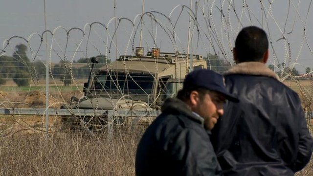Hamas police at border between Israel and Gaza