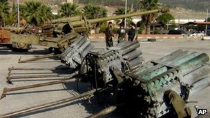 Photograph published by opposition activists purportedly showing heavy weapons captured at 46th Regiment base near Aleppo (25 November 2012)