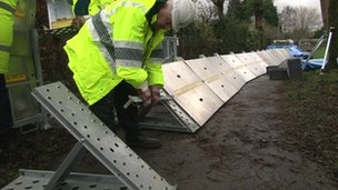 Flood barriers in Oxfordshire