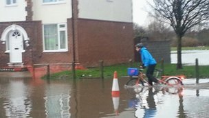 A cyclist in Haughton Road in Darlington