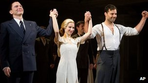 Michael Cerveris, Elena Roger and Ricky Martin at the Evita first night in March