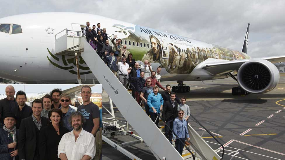 The cast and crew of The Hobbit: An Unexpected Journey at Wellington International Airport on Tuesday