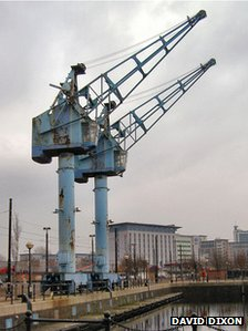 Blue cranes at Salford Quays