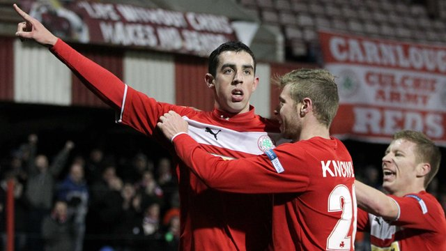 Cliftonville's Joe Gormley celebrates scoring against Lisburn Distillery