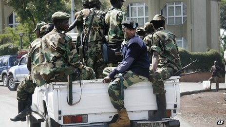M23 rebels patrol around Goma, in eastern DR Congo,  on Monday 26 November 2012