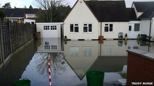 Flooded garden in Bridge Street, Pershore