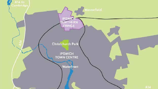 Ipswich Borough Council's Northern Fringe map