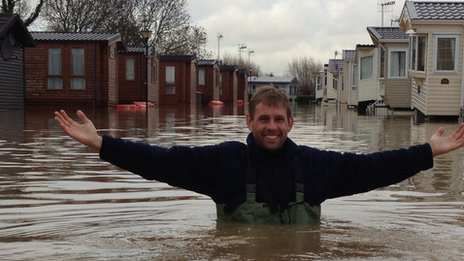 Nic Allen in floodwater at Stratford-upon-Avon Riverside Caravan Park