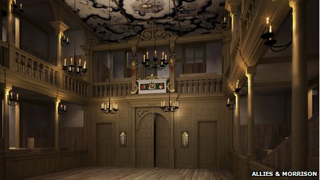 A CGI construction of how the Jacobean theatre will look