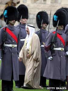 The emir inspects the guard of honour